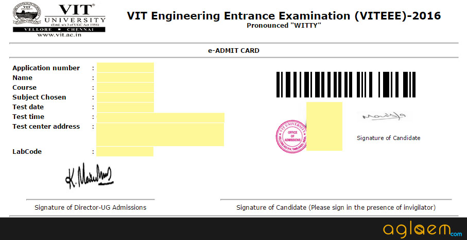 VITEEE 2016 Admit Card