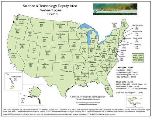 Science and Technology Deputy Area Webinar Logins FY2015 map