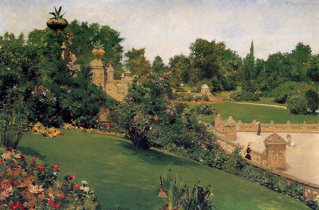 Terrace at the Mall, Central Park by William Merritt Chase, 1890