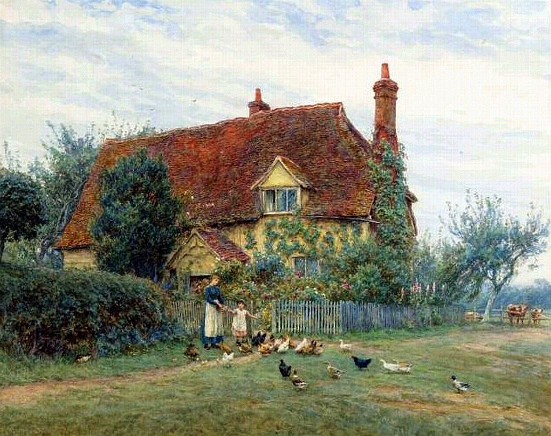 Outside the cottage by Helen Allingham