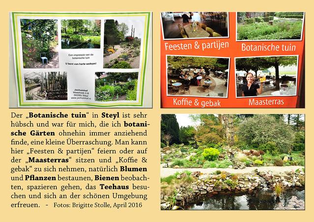 """Der """"Botanische tuin"""" in Steyl ist sehr hübsch und war für mich, die ich botanische Gärten ohnehin immer anziehend finde, eine kleine Überraschung. Man kann hier """"Feesten & partijen"""" feiern oder auf der """"Maasterras"""" sitzen und """"Koffie & geback"""" zu sich nehmen, natürlich Blumen und Pflanzen bestaunen, Bienen beobachten, spazieren gehen, das Teehaus besuchen und sich an der schönen Umgebung erfreuen. Foto Fotocollage Brigitte Stolle April 2016"""