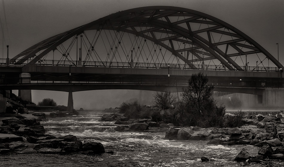Speer Avenue Bridge over Confluence Park, b/w