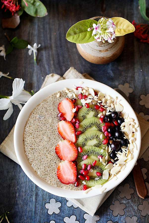 Vegan Coconut Milk Chia Seed Pudding With Fresh Fruits, Seeds and Nuts