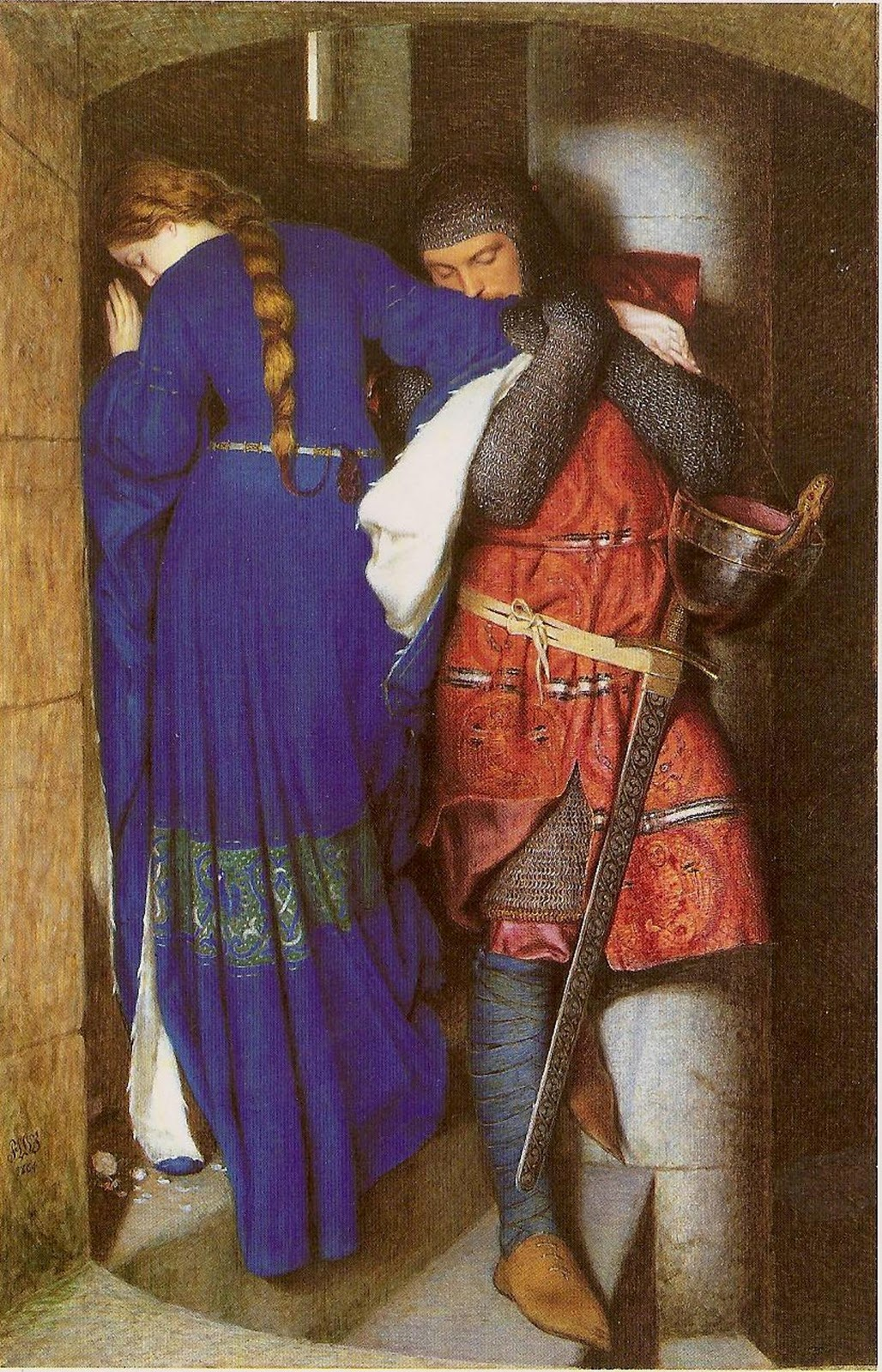 Hellelil and Hildebrand, The Meeting on the Turret Stairs by Frederic William Burton (1816-1900).