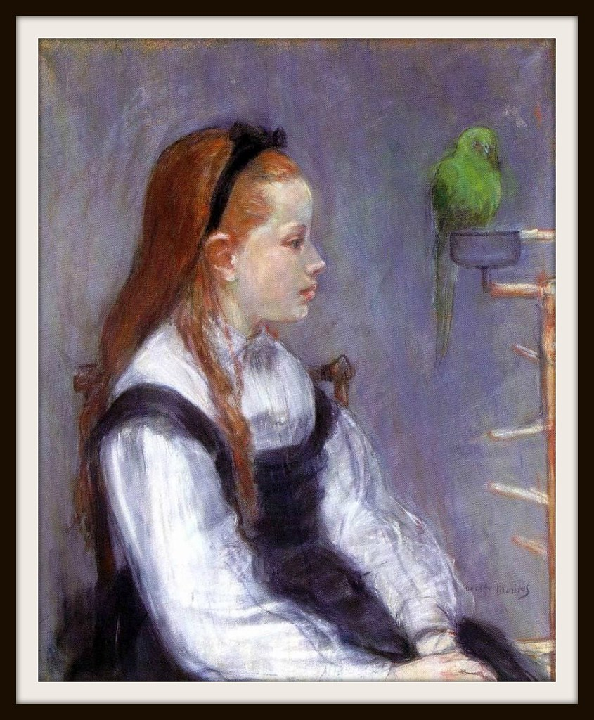 Young Girl with a Parrot by Berthe Morisot, 1873.
