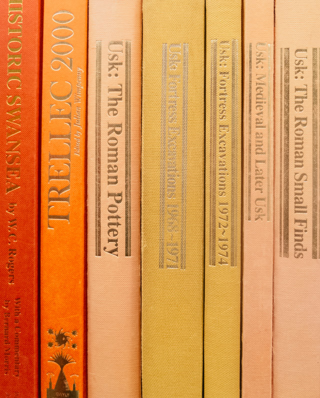 orange and yellow book spines