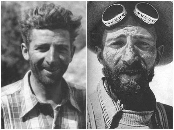 """Δύο φωτογραφίες βγαλμένες με διαφορά λίγων εβδομάδων. Στην πρώτη (αριστερά), ο Hermann Buhl στο ξεκίνημα της αποστολής. Στη δεύτερη, μόλις έχει επιστρέψει σώος από την διήμερη περιπέτειά του στα 8000 μέτρα. Η καταπόνηση είναι τόσο έκδηλη στο πρόσωπό του, που δείχνει γερασμένος κατά """"10 χρόνια τουλάχιστον"""", όπως είπε ο Hans Ertl που τράβηξε αυτή την κλασσική φωτογραφία"""