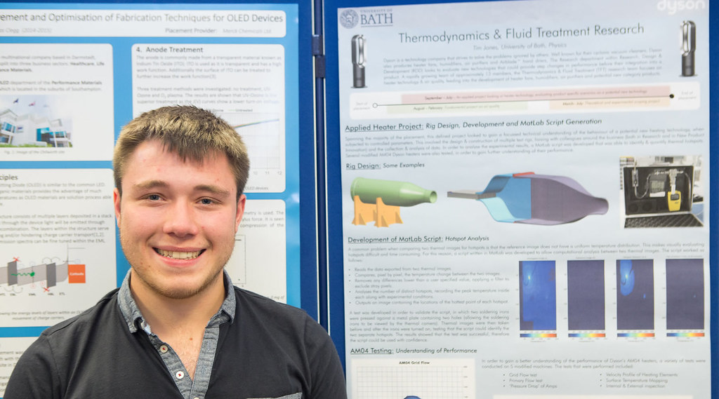 Tim Jones with his poster about his placement year at Dyson.
