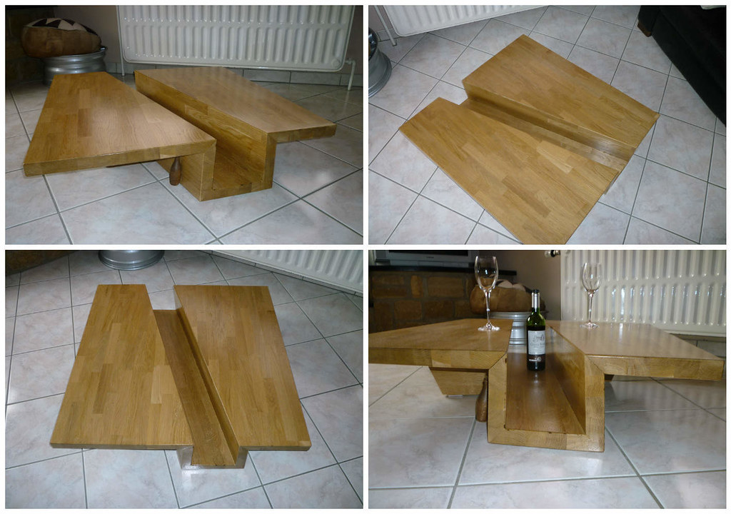 Table basse ch ne massif lamell coll solid glulam oak - Table chene massif huile ...