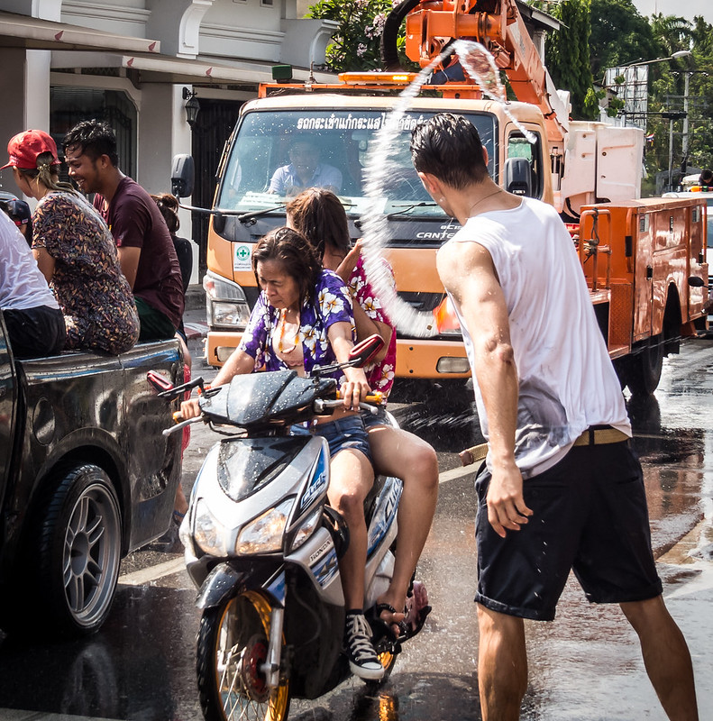 Idiot farang during Songkran festival in Phuket Thailand