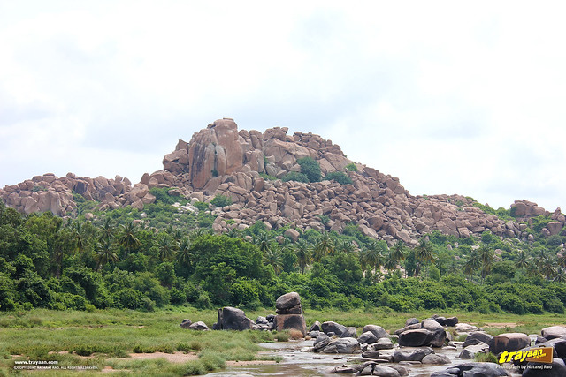 Rocky hill on the northern side of Tungabhadra river besides the Virupaksha Temple complex, Hampi, Ballari district, Karnataka, India