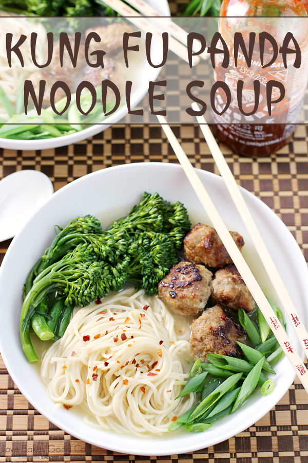 This Kung Fu Panda Noodle Soup makes a quick and easy dinner idea! Simple ingredients create a dish full of flavor! Post includes links to other Kung Fu Panda ideas!