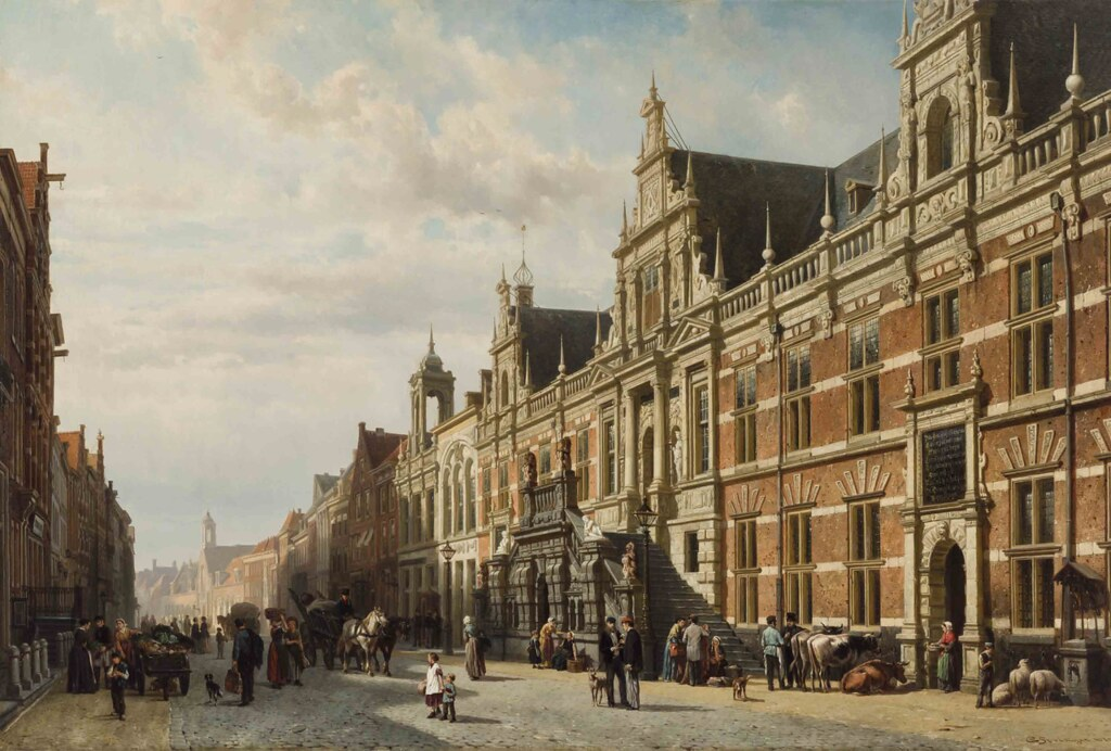 The town hall at Leiden by Cornelis Springer, 1870