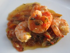 Prawns with stewed tomatoes