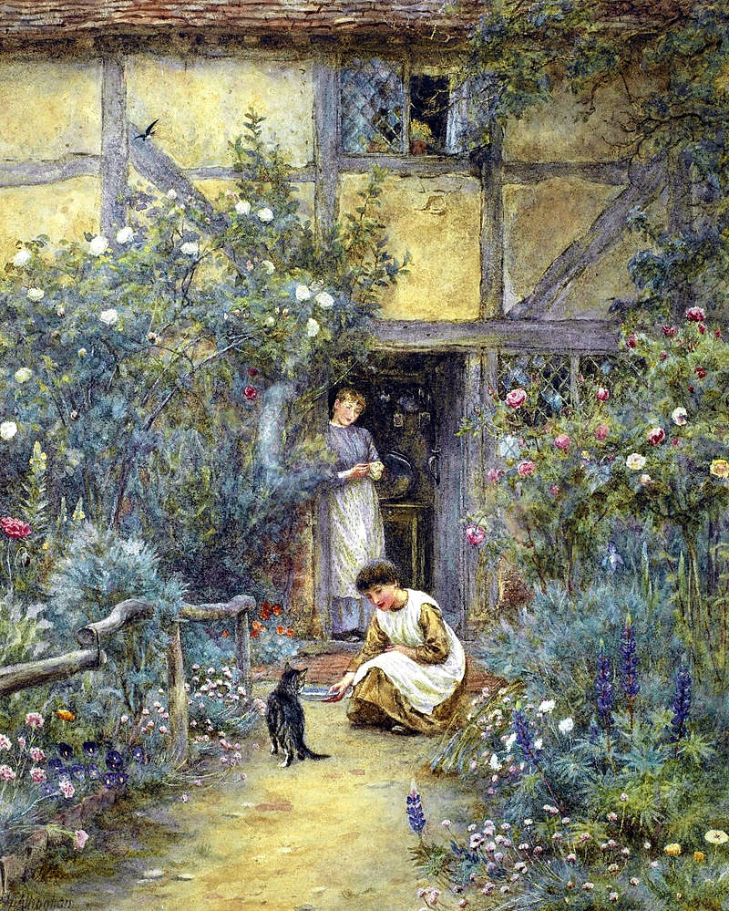 The saucer of milk by Helen Allingham