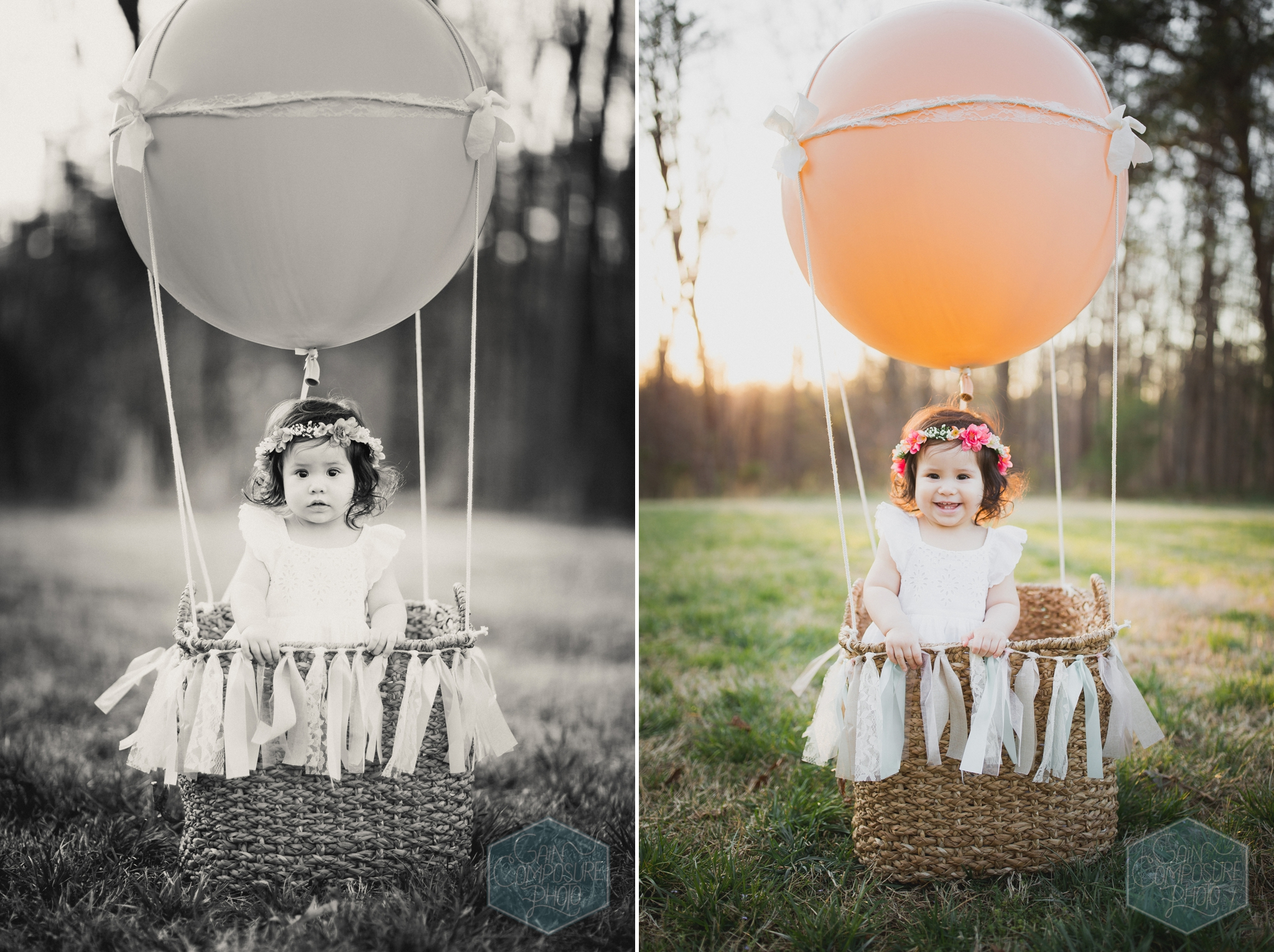 handmade hot air balloon and basket used in childrens portrait session in greensboro