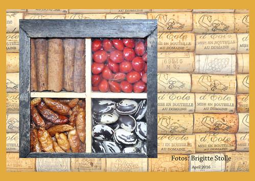 Happa-Happa und Küchenutensilien. Eine Pinwand aus Korken als Fotohintergrund. Pizza, Pasta, Salat, Wein ... ein besonders leckeres Abendessen Foto Fotocollage Brigitte Stolle April 2016