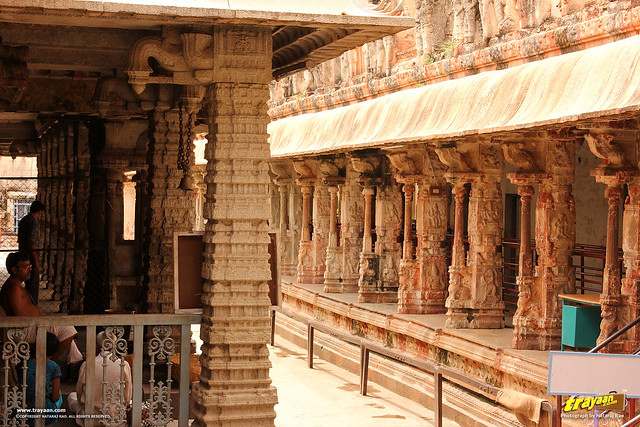Ornate and beautiful pillars or columns in Virupaksha Temple complex, Hampi, Ballari district, Karnataka, India