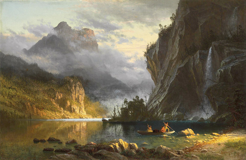 Indians spear fishing by Albert Bierstadt, 1862