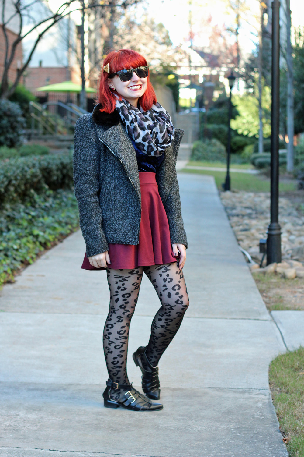 Gray Boucle Coat, Maroon Skater Skirt, Leopard Print Circle Scarf, Sheer Leopard Tights, and Cutout Boots