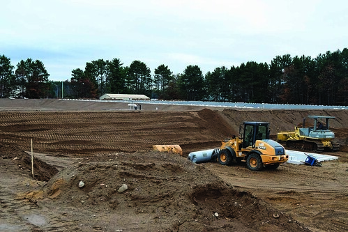Lac du Flambeau Tribe aquaculture pond site during construction