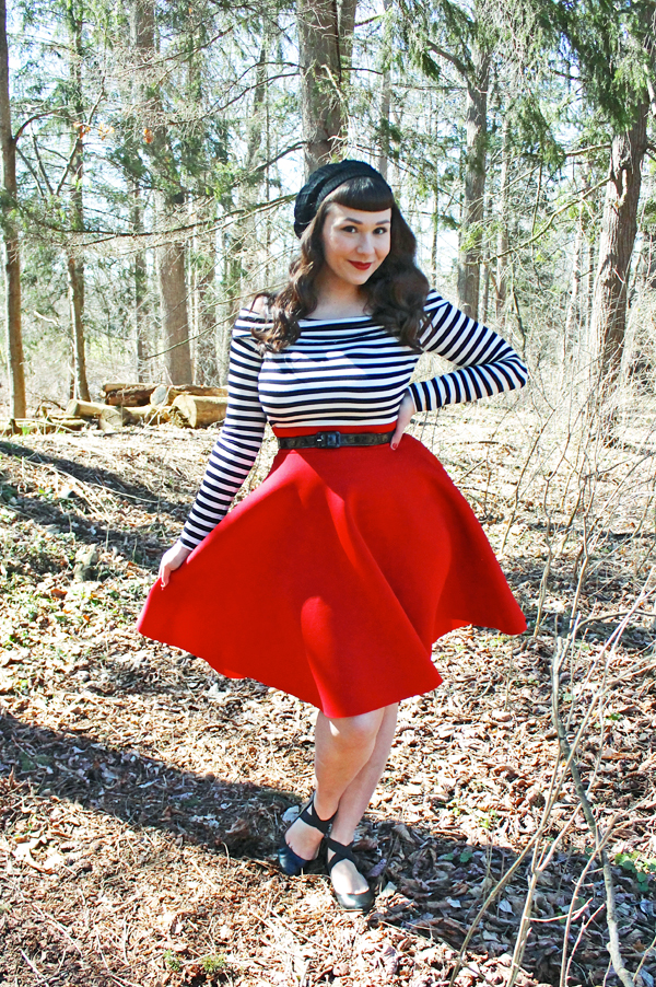 striped top red skirt