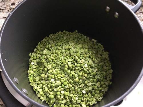 peas soaking in stock pot