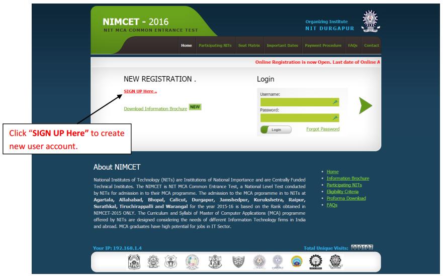 NIMCET Online Registration