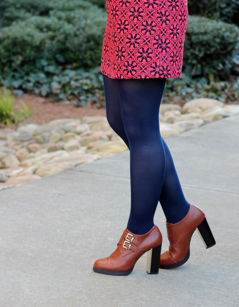 Geometric Floral Mini, Navy Blue Tights, and Retro Inspired Gold Heel Ankle Boots
