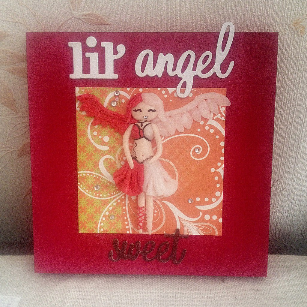 tableau fimo little angel tableau fait main ange ou d mon flickr. Black Bedroom Furniture Sets. Home Design Ideas