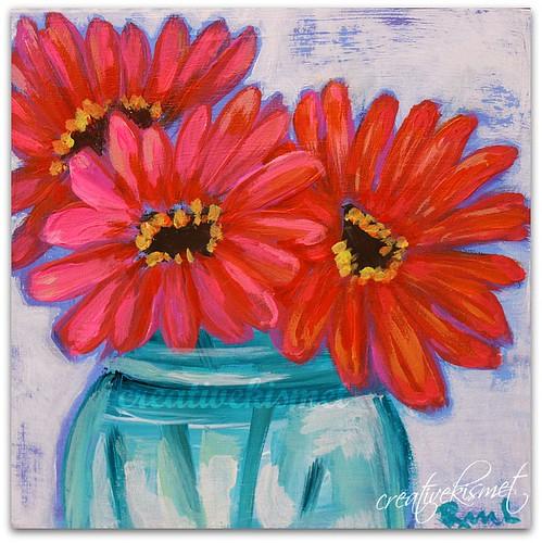 Jar of Gerbera Daisies - Art by Regina Lord