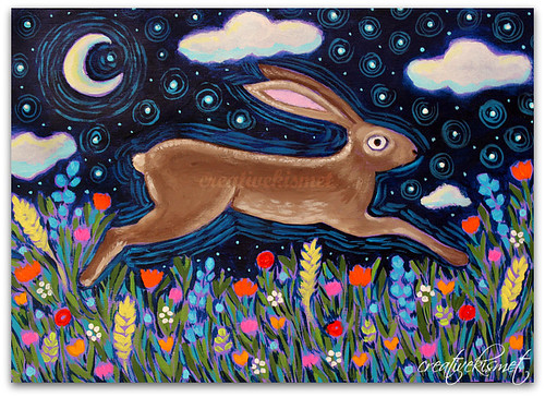 Leaping Rabbit - hare or bunny Art by Regina Lord