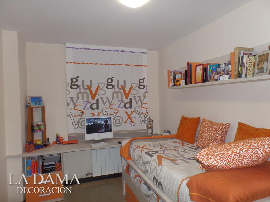 Decoraci n habitaci n juvenil naranja cortinas estores - Estores habitacion juvenil ...
