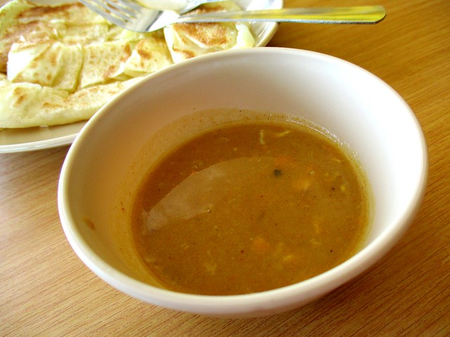 Roti canai dhal curry dip
