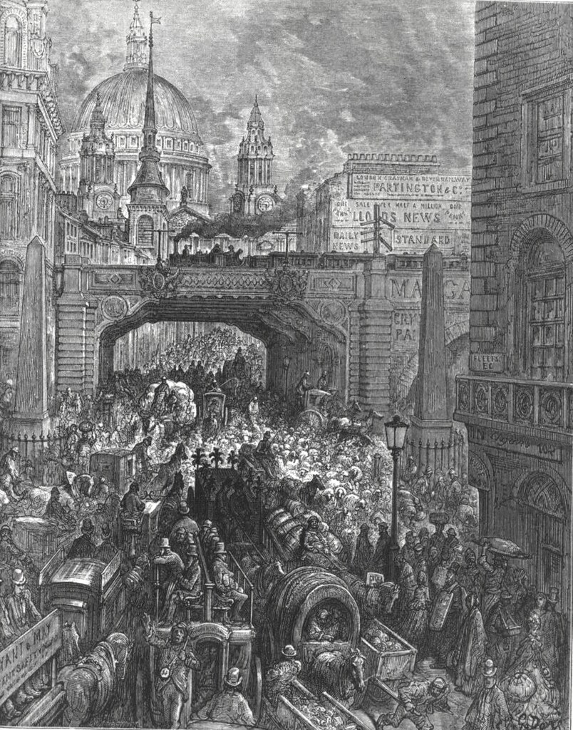 Ludgate Hill - A block in the street, by Gustave Doré (1872).