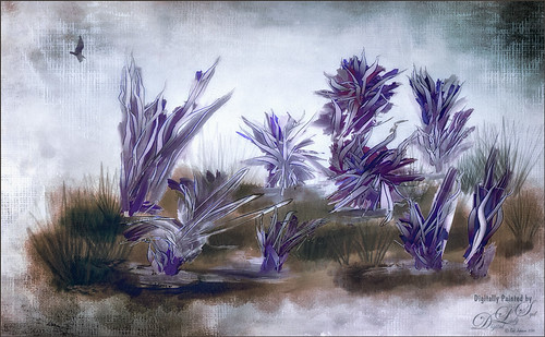Purple Flowers painted in Paintstorm Studio