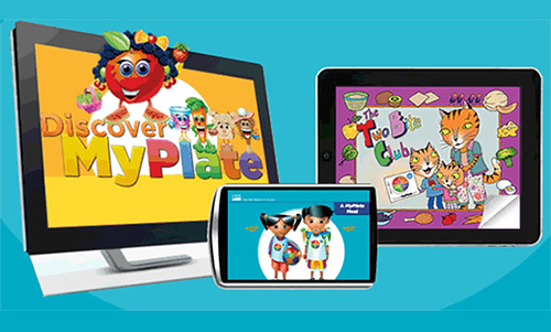 """Mobile devices showing """"Discover MyPlate, Two Bite Club and A MyPlate Meal"""""""
