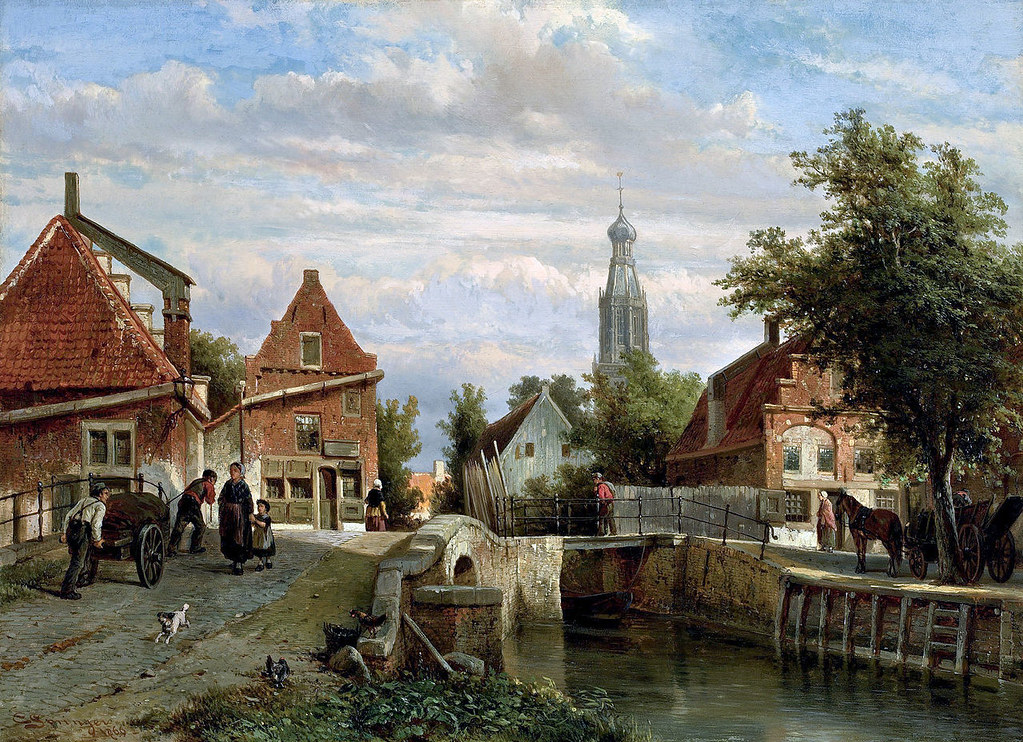 A view of the Staal Everspijp and the Grote Kerk in summer, Enkhuizen by Cornelis Springer, 1866