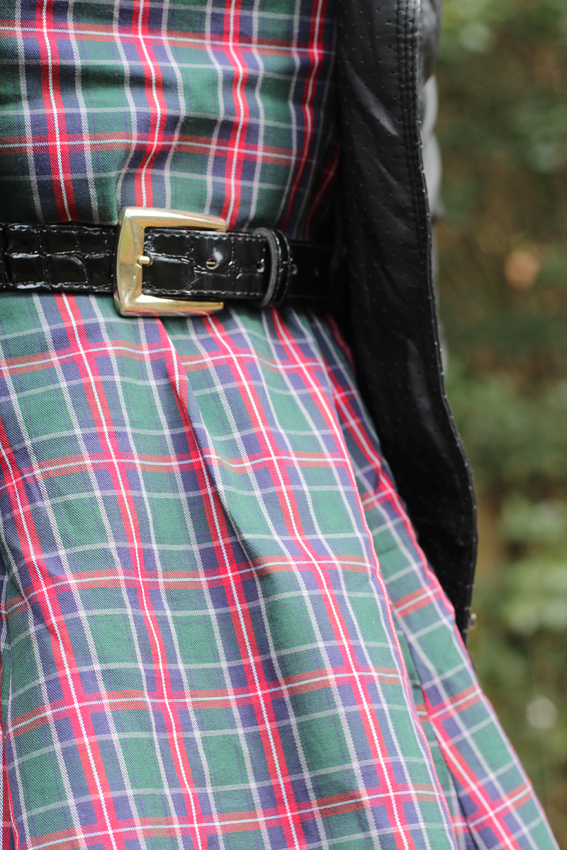 Red, Green, and Blue Plaid Dress with a Patent Belt