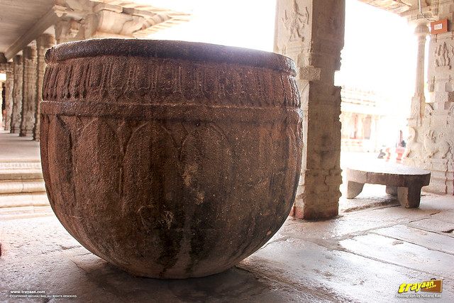 A carved stone drum in the cloistered corridor of Virupaksha Temple complex, Hampi, Ballari district, Karnataka, India