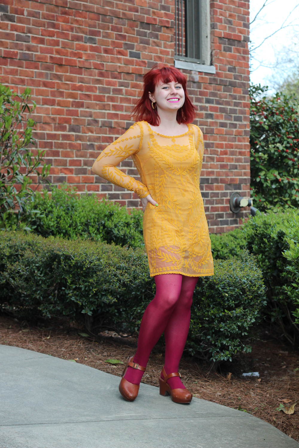 Yellow Long Sleeved Shift Dress with Pink Tights and Brown Clogs