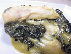 Sea bass in spinach