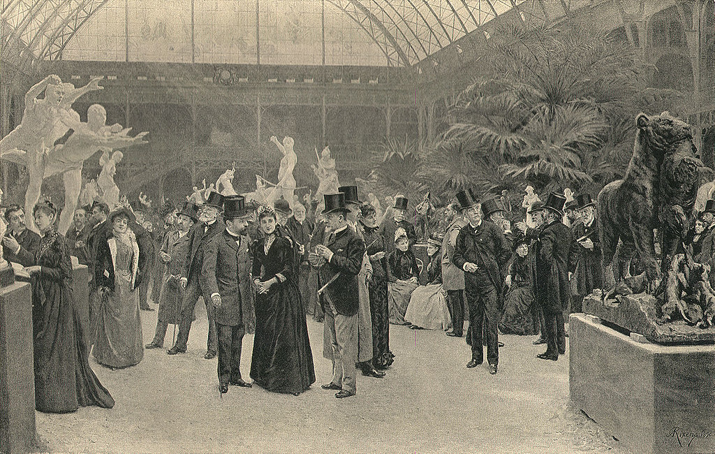 Formally dressed patrons at the Salon in 1890