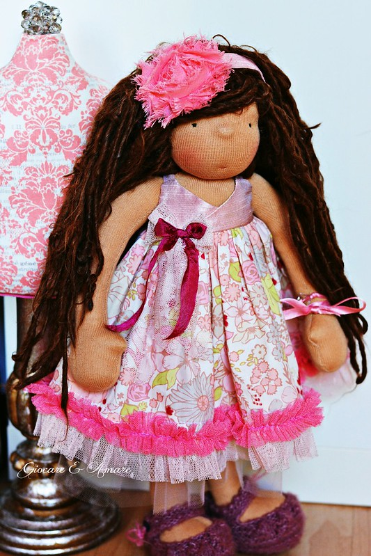 Spring Fling Dress (Pink) for 14-16 inch doll