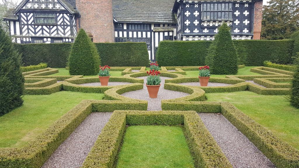 View of the back of the tudor house including knot garden for Tudor knot garden designs