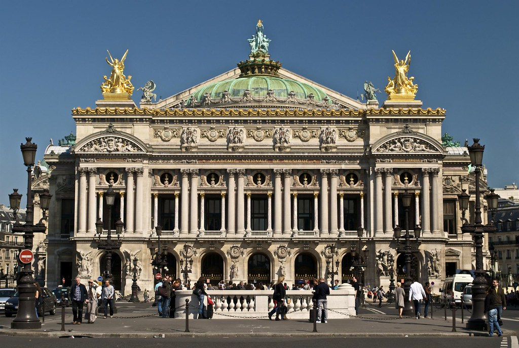An abundance of Neo-Baroque decorative elements on the south façade of the Opéra Garnier in Paris, France. Image credit Paris16