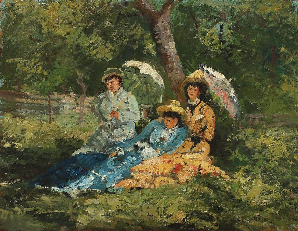 In the Park by Ion Andreescu, (1850 - 1882)