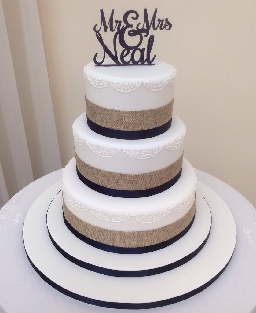 navy and white wedding cake rustic ribbon amp navy wedding cake a wedding cake for the 17743