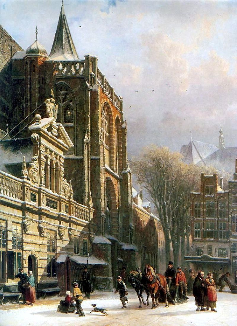 St. Michael Church in Zwolle by Cornelis Springer, 1862