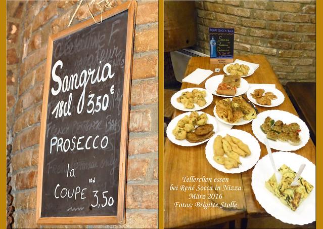 """Kleine Nizza-Spezialitäten essen bei René Socca. """"René Socca"""" ist bekannt, beliebt, immer voll – eine Institution und ein Erlebnis! Am Straßenstand sucht man sich aus einer Fülle von Leckereien eine oder mehrere bereits vorgerichtete Tellerchen aus und schleppt seine Beute ins nebenan gelegene Restaurant. Die Getränke werden dort serviert. Jeder Teller ist eine Art kleine Vorspeise; ein Erwachsener kann gut 2 oder 3 dieser Tellerchen schaffen – und ein Dessert noch dazu. Is(s)t man wie wir zu viert, kommt ein beachtliches """"Assortiment niçois"""" zusammen: der Holztisch ist voll, man probiert reihum von allem und muss aufpassen, dass man noch ein Plätzlein für das Bier- oder Weinglas findet. Zwischendurch erklärt sich vielleicht einer bereit, sich nochmal in der langen Schlange am Straßenrand anzustellen und eine weitere Köstlichkeit an den Tisch zu bringen. Es gibt: Socca (natürlich!), Pissaladière, Petites farcis (kleine gefüllte Gemüse), Pizza, Tarte du jour, verschiedene Beignets, z.B. mit Courgettes (Zucchini) oder Aubergines, Pan Bagnat (Brot mit kaltgepresstem Olivenöl beträufelt und mit Salat, Zwiebeln, Oliven, Paprika, Tomaten … überhäuft), Salade Niçoise und vieles mehr. Ganz besonders köstlich fand ich den Tian de Blettes, den ich zu Hause auch schon so ähnlich zubereitet hatte und nun auf die Nizzaer Art gespannt war. Der """"Tian"""" ist eine Art Auflauf, benannt nach dem Tontopf bzw. der Kasserolle, in der er aus Gemüse und Eiern zubereitet wird. """"La blette"""" = der Mangold. Sehr interessant fand ich, dass es """"Tourtes de blettes"""" sowohl in salziger (salée) als auch in süßer (sucrée) Variante gibt. Als süßen Kuchen mit Gemüse kenne ich hierzulande nur die Rüblitorte, vielleicht noch einen süßen Kartoffelkuchen. Dieser süße Mangoldkuchen in Nizza schmeckte sehr apart und köstlich zum Dessert, lecker-lecker! Nizza Nice Essen und Trinken Restaurant Foto Collage Brigitte Stolle März 2016"""